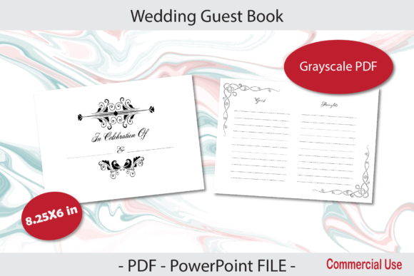 Print on Demand: Wedding Guest Book for KDP 8.25X6 in Graphic KDP Interiors By IsaraDesign
