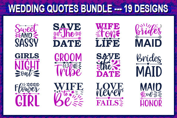 Print on Demand: Wedding Quote Designs Bundle Graphic Print Templates By store_svg