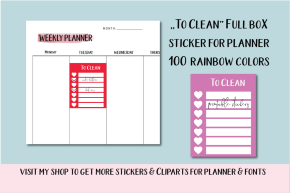 Weekly Cleaning Planner Stickers Graphic Objects By Aneta Design