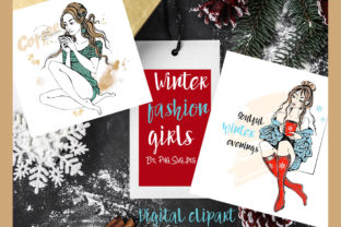Winter Clipart Fashion Girls Knitted Graphic Illustrations By grigaola