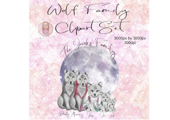 Wolf Family Clipart Set Graphic Illustrations By Marelia Designs