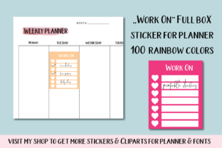 Work Planner Stickers, Work Box Stickers Graphic Objects By Aneta Design
