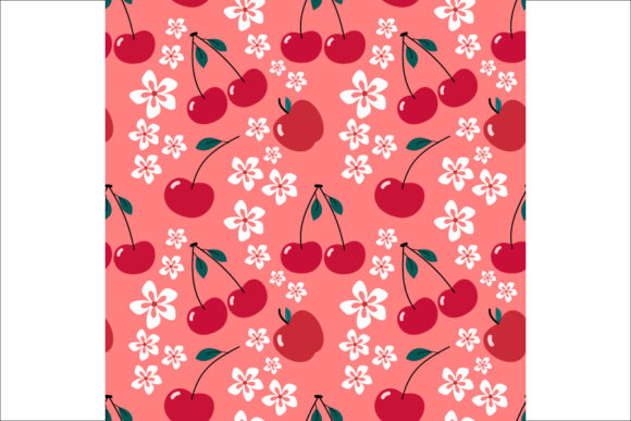 Cherrys and Flower Pattern Seamless Graphic Graphic Templates By visitindonesia