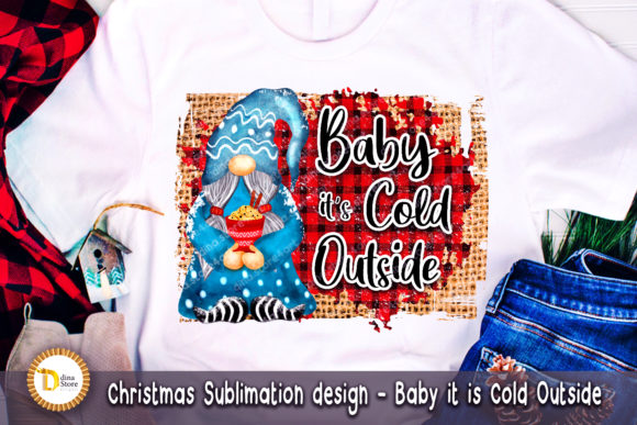 Print on Demand: Christmas Sublimation - Baby It is Cold Grafik Crafts von dina.store4art