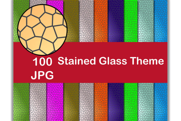 100 Digital Paper (Stained Glass Theme) Graphic Backgrounds By Kamal Essouafi
