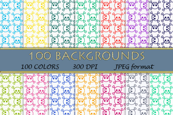 100 Skull with Bones Digital Papers Graphic Backgrounds By SweetDesign