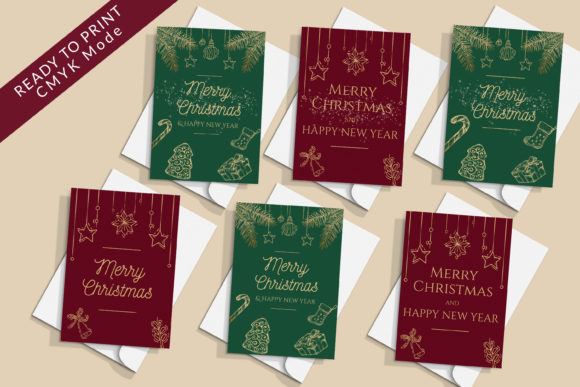 Print on Demand: 8 Christmas Greeting Cards Printables Graphic Print Templates By AdMaioraDesign