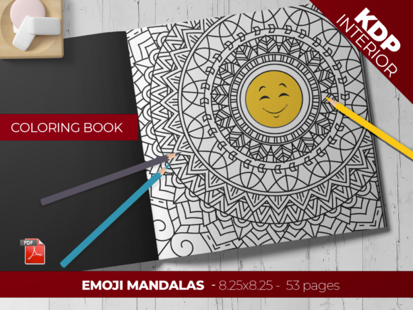 Print on Demand: Adult Coloring Book - Emoji Mandalas - Graphic Coloring Pages & Books Adults By Printable Pixel Studio