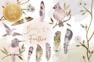 Print on Demand: Birds & Feathers Clipart Set Graphic Illustrations By daphnepopuliers