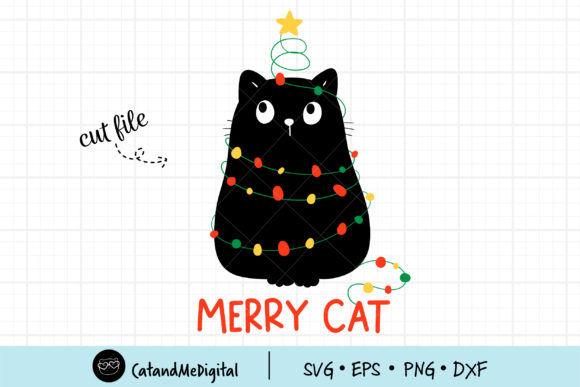 Black Cat Christmas Light Graphic Illustrations By CatAndMe