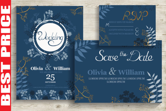 Blue&Gold Wedding Invitation Cards Graphic Print Templates By AstraDesign