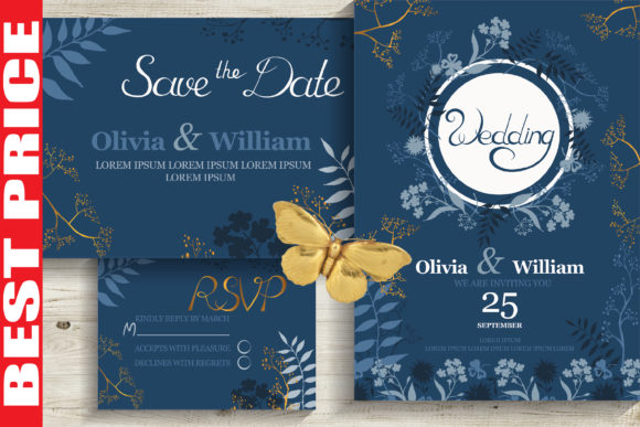 Blue&Gold Wedding Invitation Cards Graphic Download