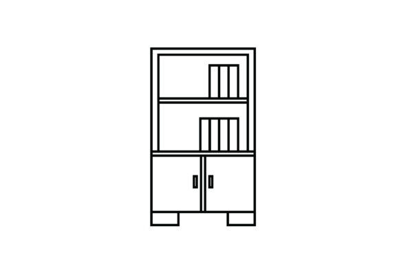 Print on Demand: Bookshelf out Line Livingroom Icon Graphic Icons By meandmydate