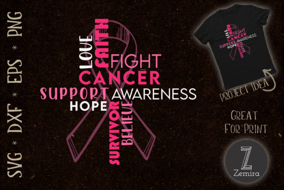 Print on Demand: Breast Cancer Awareness Word Cloud Graphic Print Templates By Zemira