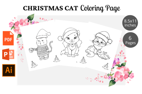 Cat Christmas Coloring Pages KDP Graphic