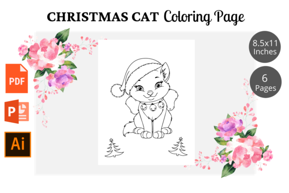 Cat Christmas Coloring Pages KDP Graphic Download