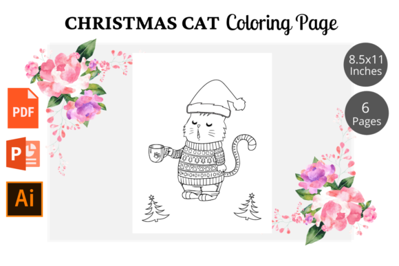 Cat Christmas Coloring Pages KDP Graphic Item