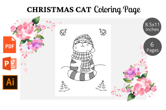 Cat Christmas Coloring Pages KDP Graphic Image