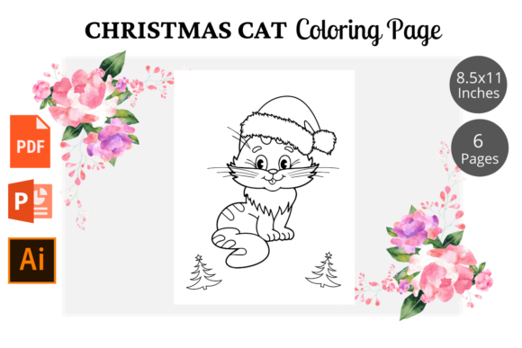 Cat Christmas Coloring Pages KDP Graphic Design Item