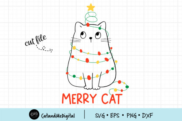 Cat Christmas Light Graphic Illustrations By CatAndMe