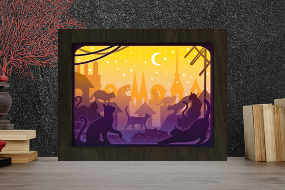 Cats in the City Light Box Shadow Box Graphic 3D Shadow Box By LightBoxGoodMan