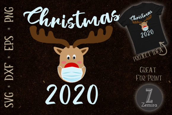 Print on Demand: Christmas 2020 Reindeer Wear Mask Graphic Print Templates By Zemira