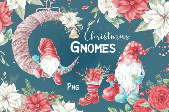 Print on Demand: Christmas Gnomes and Decorative Elements Graphic Illustrations By nicjulia