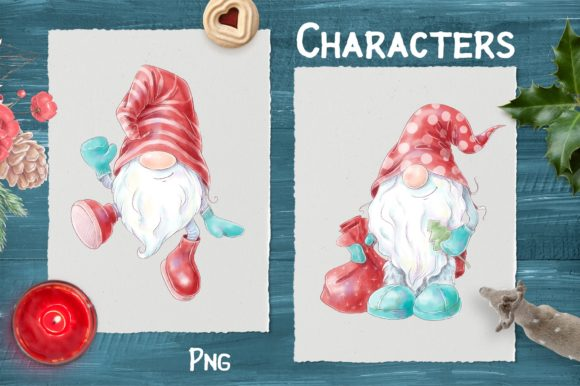 Christmas Gnomes and Decorative Elements Graphic Download