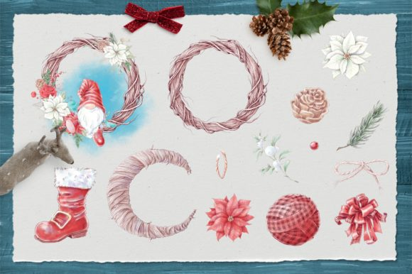 Christmas Gnomes and Decorative Elements Graphic Preview