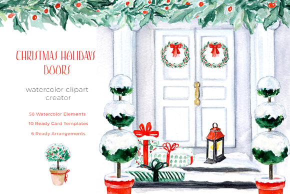 Christmas Holiday Doors Creator Grafik Illustrations von LABFcreations
