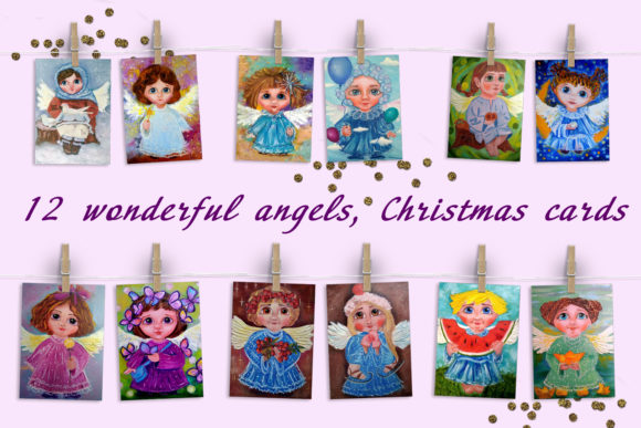 Print on Demand: Christmas Angels Cards Graphic Illustrations By ElenaZlataArt