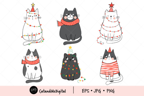 Christmas Cat Clipart. Graphic Illustrations By CatAndMe