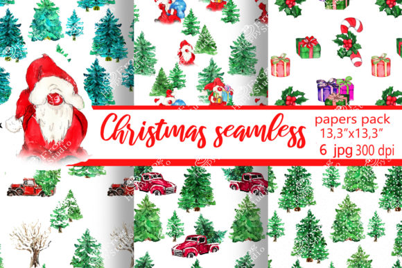 Christmas Seamless Papers Pack Graphic Patterns By arevkasunshine