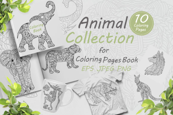 Collection of Animals for Coloring Graphic Coloring Pages & Books Adults By FolkStyleStudio