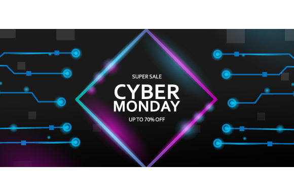 Cyber Monday Sale with Neon Light Graphic Backgrounds By Muhammad Rizky Klinsman