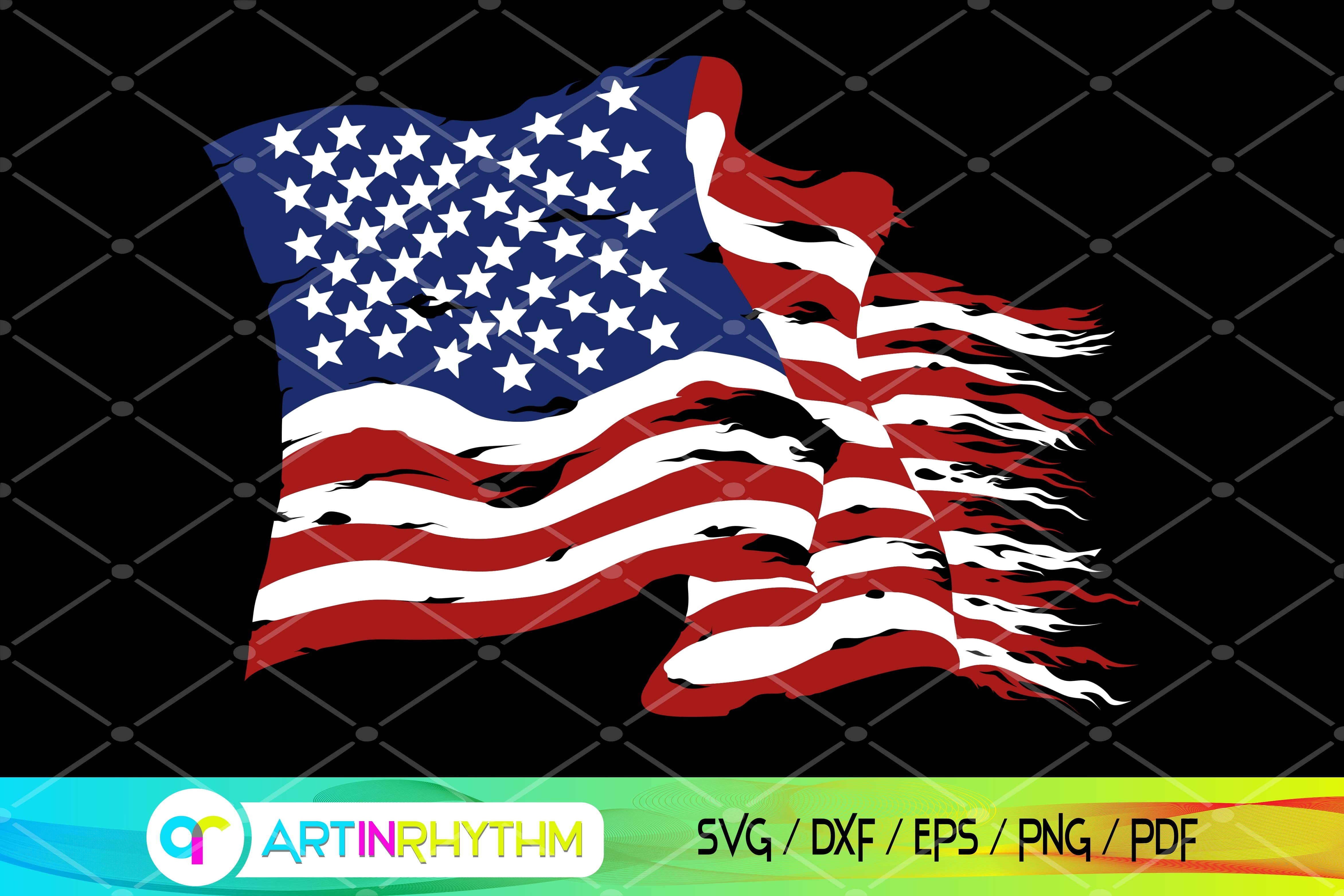 Distressed American Flag SVG Graphic SVG File