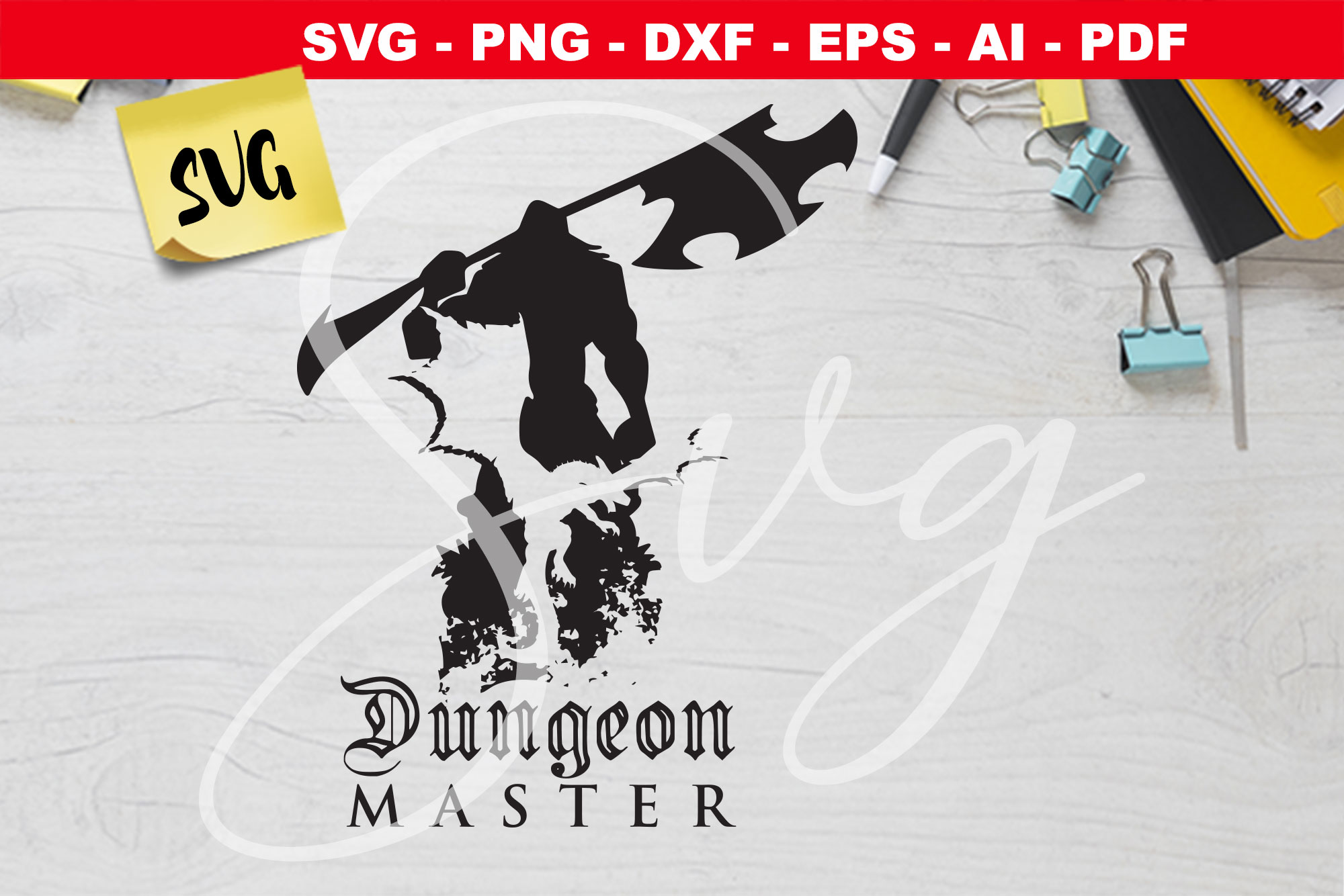 Dungeon Master, Barbarian and Dragon SVG File