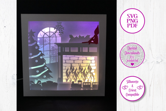 Elf on the Shelf 3D Paper Light Box Graphic 3D Shadow Box By Jumbleink Digital Downloads