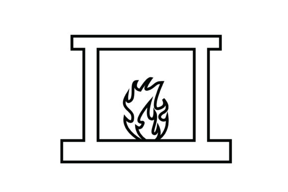 Print on Demand: Fireplace out Line Livingroom Icon Graphic Icons By meandmydate