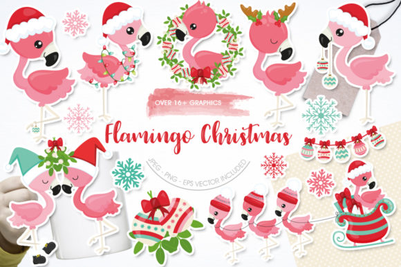 Print on Demand: Flamingo Christmas Grafik Graphic Templates von Prettygrafik