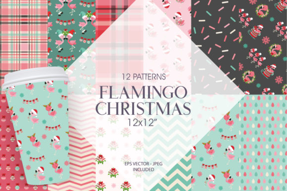 Print on Demand: Flamingo Christmas Graphic Patterns By Prettygrafik