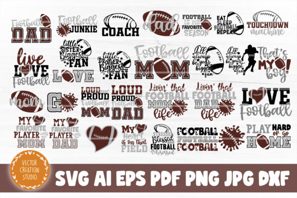 Print on Demand: Football Bundle SVG Cut File Graphic Crafts By VectorCreationStudio