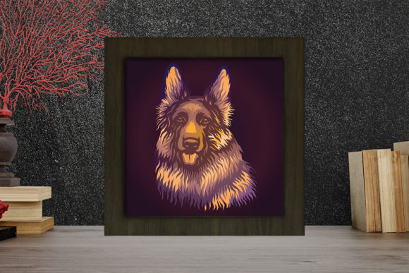 German Shepherd Light Box Shadow Box Graphic 3D Shadow Box By LightBoxGoodMan