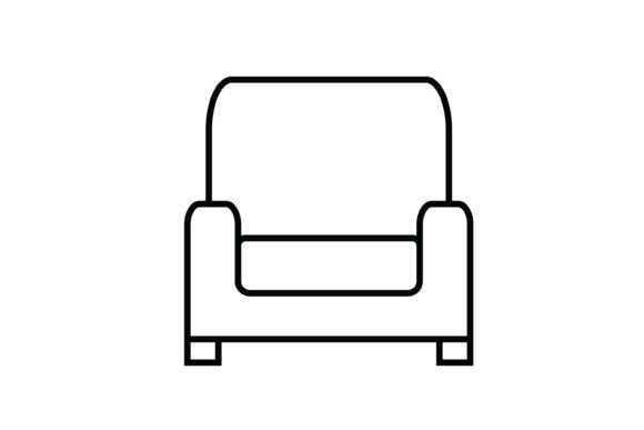 Print on Demand: Gray Sofa out Line Livingroom Icon Graphic Icons By meandmydate