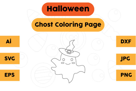 Halloween Coloring Page - Ghost 16 Graphic Coloring Pages & Books Kids By isalsemarang