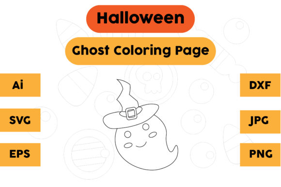 Halloween Coloring Page - Ghost 17 Graphic Coloring Pages & Books Kids By isalsemarang