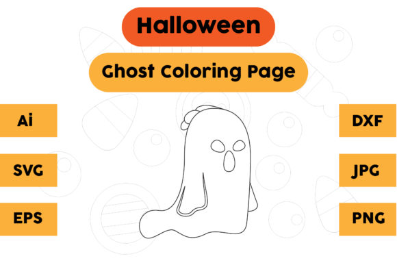 Halloween Coloring Page - Ghost 18 Graphic Coloring Pages & Books Kids By isalsemarang
