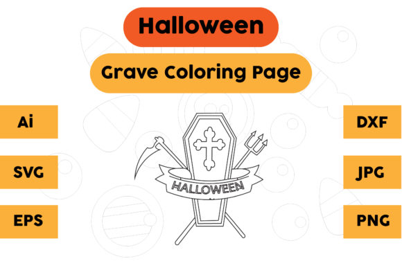 Halloween Coloring Page - Grave 14 Graphic Coloring Pages & Books Kids By isalsemarang
