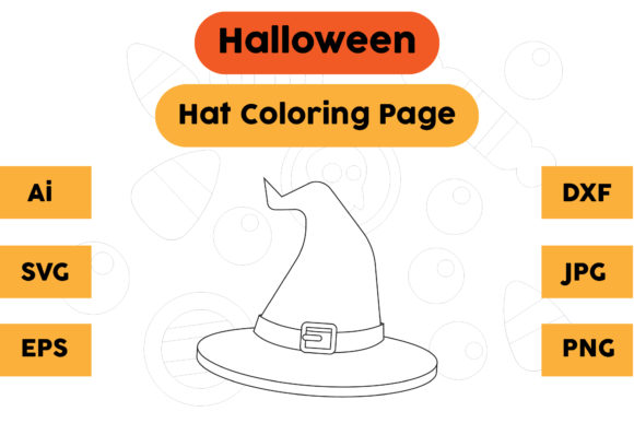 Halloween Coloring Page - Hat 12 Graphic Coloring Pages & Books Kids By isalsemarang
