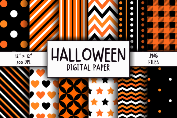 Print on Demand: Halloween Pattern Digital Paper Graphic Patterns By atlasart
